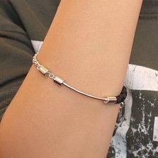 Серебряный браслет Комбинация с плетеной текстильной вставкой и декоративной цепочкой-подвеской