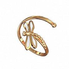 Кольцо в красном золоте Стрекоза с эмалью