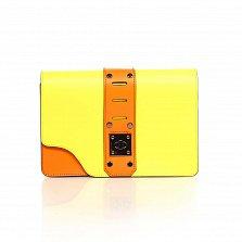 Кожаный клатч Genuine Leather 8917 оранжево-желтого цвета с декоративной пряжкой