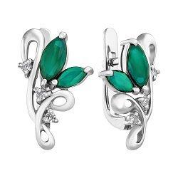 Серебряные серьги с зелеными агатами и фианитами 000112448