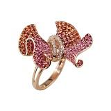 Золотое кольцо с сапфирами, рубинами и бриллиантами Глориоза