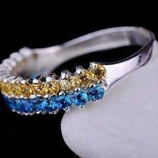 Серебряное кольцо Я люблю Украину с фианитами