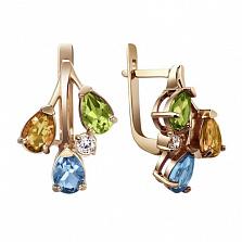 Золотые серьги с полудрагоценными камнями Николь