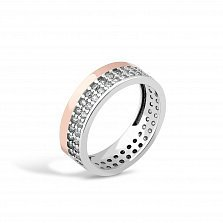 Серебряное кольцо Абигейль с золотой накладкой, фианитами и родием