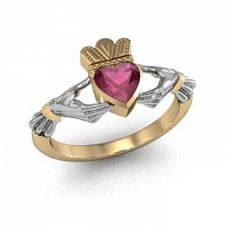 Золотое кладдахское кольцо Царство любви с синтезированным рубином 000090542