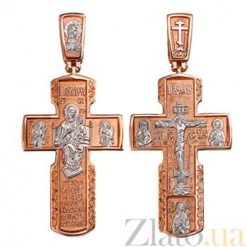 Золотой крестик с белым родием Благостный VLT--КС3024-2