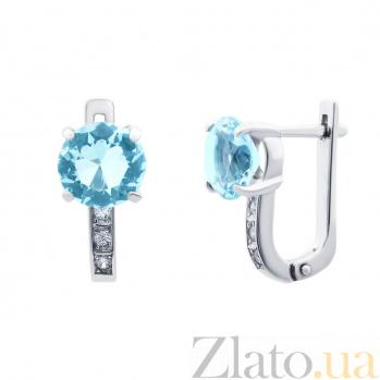Серебряные серьги с голубым цирконом Кристи AQA--72079г