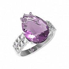 Серебряное кольцо Полина с аметистом и фианитами