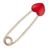 Булавка из красного золота Сердечко с эмалью