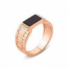 Золотое кольцо-печатка Дастин с ониксом и фианитами