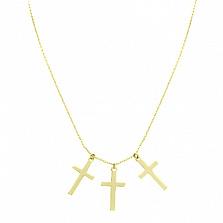 Колье в желтом золоте Три креста
