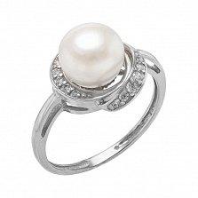 Серебряное кольцо Эмма с жемчугом и фианитами