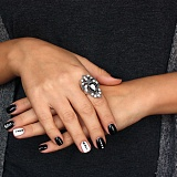 Серебряное черненое кольцо Карла с цирконием