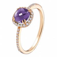 Золотое кольцо Антик с аметистом и фианитами