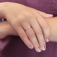 Золотое кольцо Эдем с декоративной шинкой и белым фианитом