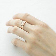 Золотое кольцо Холли с косой на шинке и белыми фианитами в стиле Картье