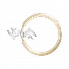 Золотое фаланговое кольцо Freedom в комбинированном цвете с подвесками-ласточками