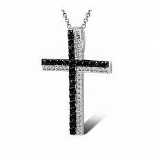 Крестик из белого золота День и ночь  с бриллиантами