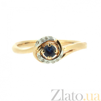 Золотое кольцо в красном цвете с сапфиром и бриллиантами Леонора ZMX--RS-6681_K