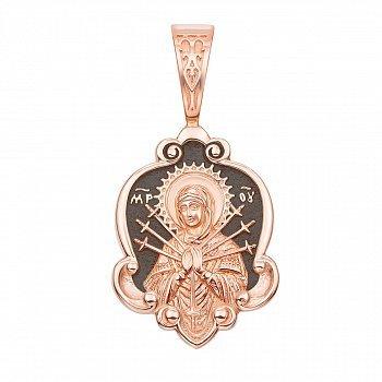 Ладанка из красного золота Божия Матерь Семистрельная с чернением 000136252