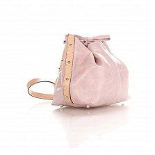 Кожаный клатч-мешок Genuine Leather 1678 цвета бархатный приглушенно-розовый с плечевым ремнем
