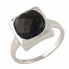 Серебряное кольцо Звездное небо с авантюрином