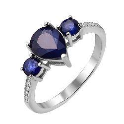 Серебряное кольцо с сапфирами и фианитами 000117806