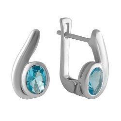 Серебряные серьги с нано аквамаринами 000128782