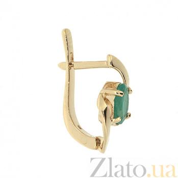 Золотые серьги с изумрудами Мадина 000021866