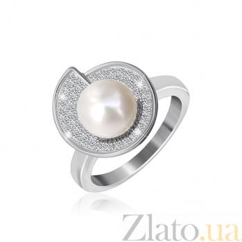 Серебряное кольцо с жемчугом и цирконием Эдвина 000025494