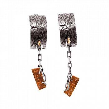 Cеребряные серьги-подвески Faith&Love с золотыми вставками и чернением 000091392