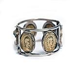 Серебряный браслет с монетами Профиль