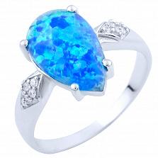 Серебряное кольцо Падма с опалом и фианитами
