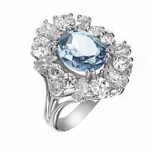 Серебряное кольцо Раулия с цветком из кварца Swiss blue и фианитов