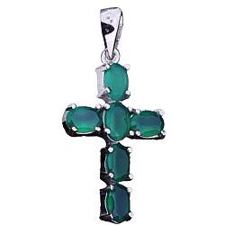 Крестик из серебра Эльза с хризопразом