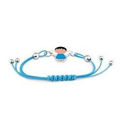 Детский шелковый браслет Ангелочек в голубом платье с серебряными вставками и разноцветной эмалью 00