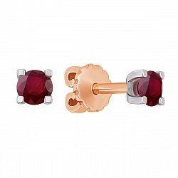Серьги-пуссеты в комбинированном цвете золота с рубинами 000135747