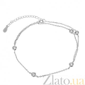 Серебряный браслет с цирконием Макенна 000027968