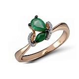 Кольцо из красного золота Селина с бриллиантами и изумрудами