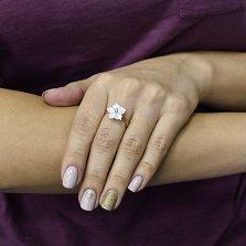 Золотое кольцо Незабудка с белыми перламутром и фианитом