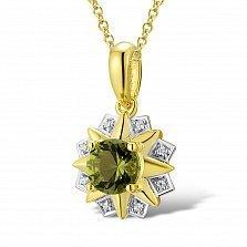 Кулон из желтого золота Корнелия с бриллиантами и хризолитом