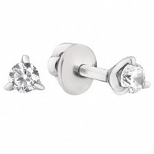 Серебряные серьги-пуссеты Мирина с прозрачными фианитами