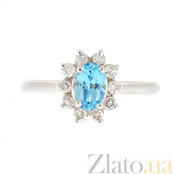 Золотое кольцо Малинка в белом цвете с голубым топазом и бриллиантами ZMX--RT-4235w_K