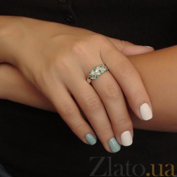 Серебряное кольцо Колосок с изумрудами и бриллиантами ZMX--RDE-15089-Ag_K
