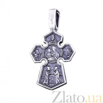 Серебряный крест с чернением Ангелы-хранители ONX--131375