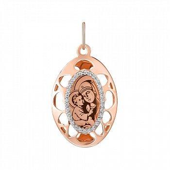 Ладанка из красного золота Богоматерь Почаевская с фианитами 000143857