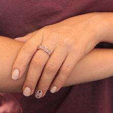 Кольцо из красного золота Жоржетта с бриллиантами и сапфирами