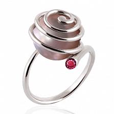 Эксклюзивное кольцо Морской вихрь с розовым жемчугом и сапфиром