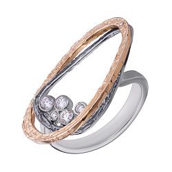 Серебряное кольцо Нест с цирконием в позолоте и чернении