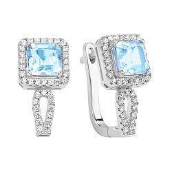 Серебряные серьги с голубым топазом и фианитами 000117842
